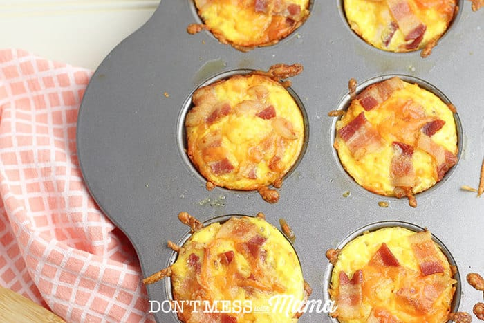 fully cooked mini egg quiches in a muffin tin