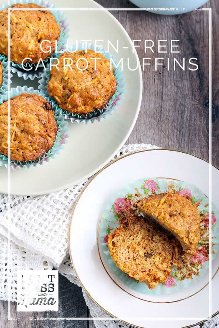 Get a healthy serving of both fruit and vegetables with this gluten-free muffin recipe. The whole family will love these Carrot Apple Sunshine Muffins. Dontmesswithmama.com #glutenfree #muffins #breakfast #dontmesswithmama