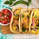 Gluten-Free Egg Burritos on a blue plate