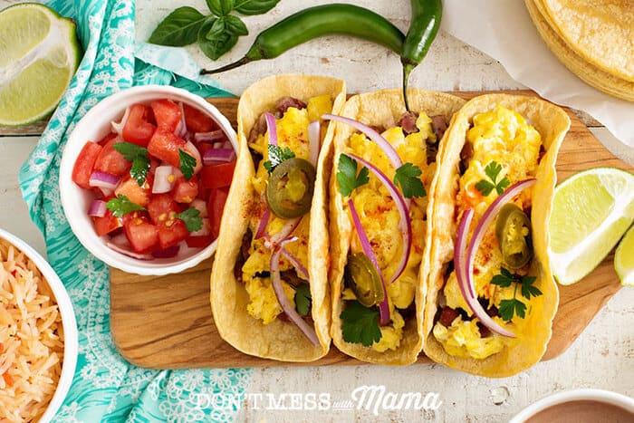 Gluten-Free breakfast tacos on a cutting board