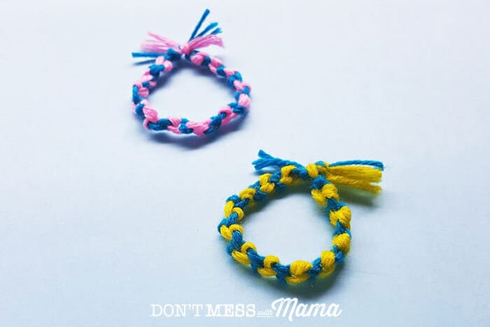 Closeup of DIY friendship bracelets