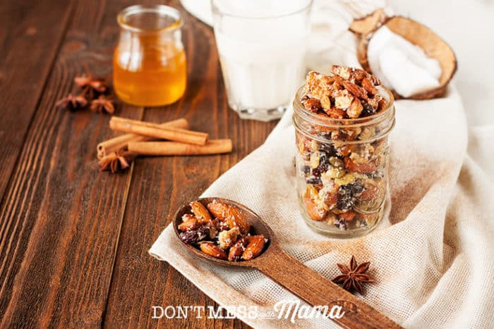 Paleo Maple Nut Trail Mix in a jar on a table