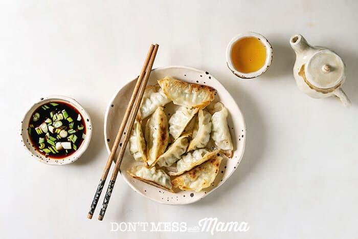 A close up of a gluten free Chinese dumpling