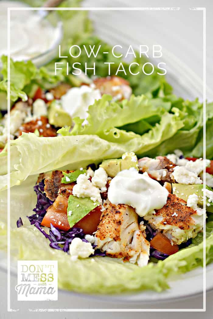 Make these delicious Keto Low-Carb Fish Tacos made with spices, avocado and salsa. This is a fun meal that the whole family will enjoy and it's ready in just 30 minutes. Plus, it's so easy to adapt with your favorite fixings. #glutenfree #lowcarb #keto #paleo via @dontmesswithmom