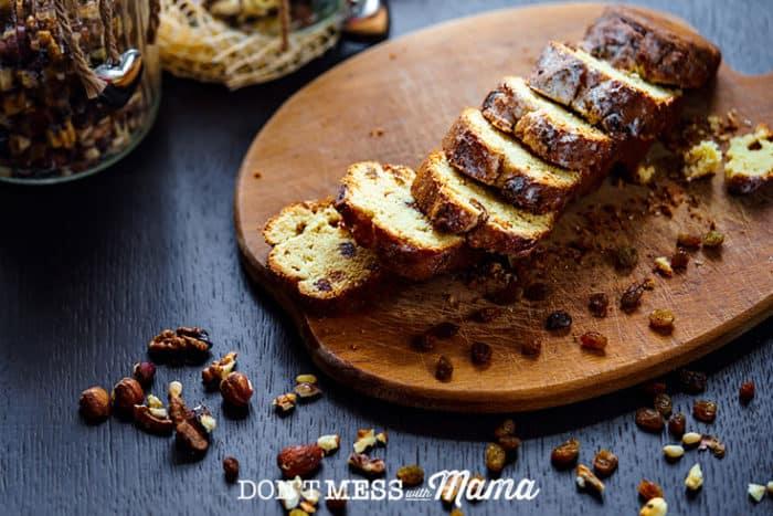 Sliced Grain-Free Cinnamon Raisin Bread on a board
