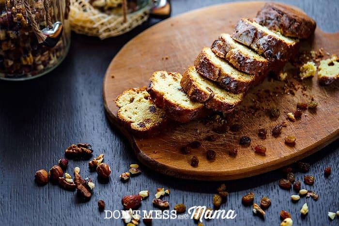 Gluten-free raisin bread sliced on a cutting board