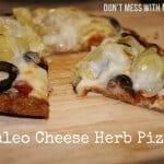 A grain free pizza recipe on a wooden board