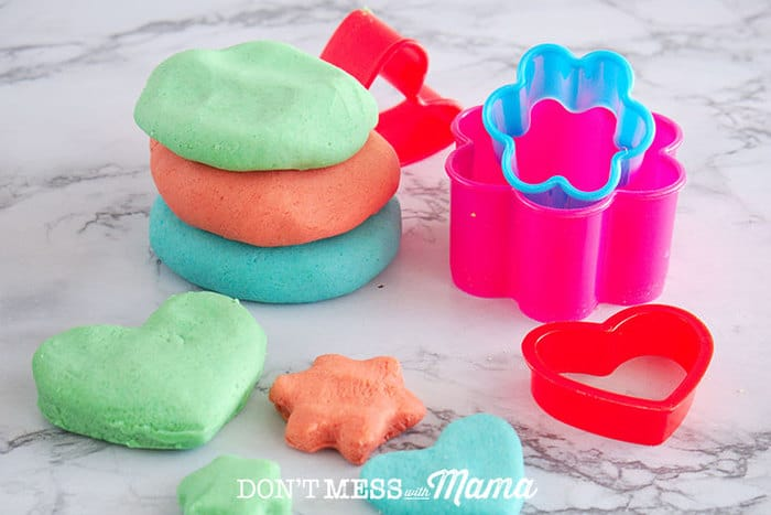 DIY Play Dough with cookie cutter shapes