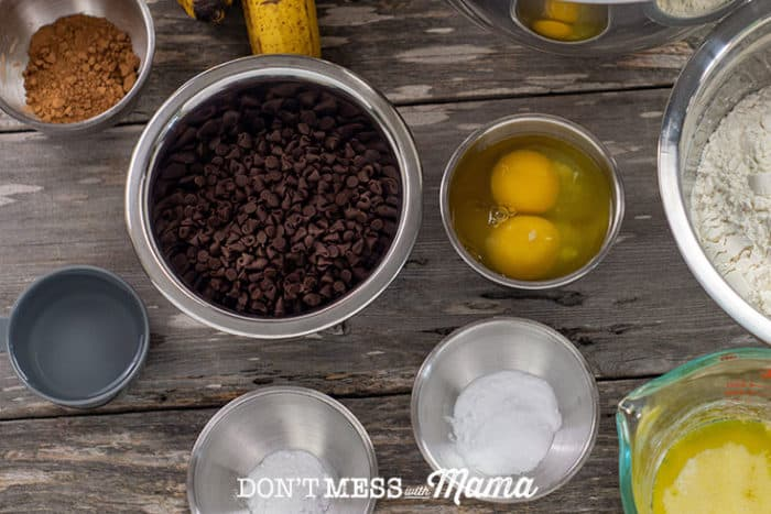 ingredients to make banana bread on a table