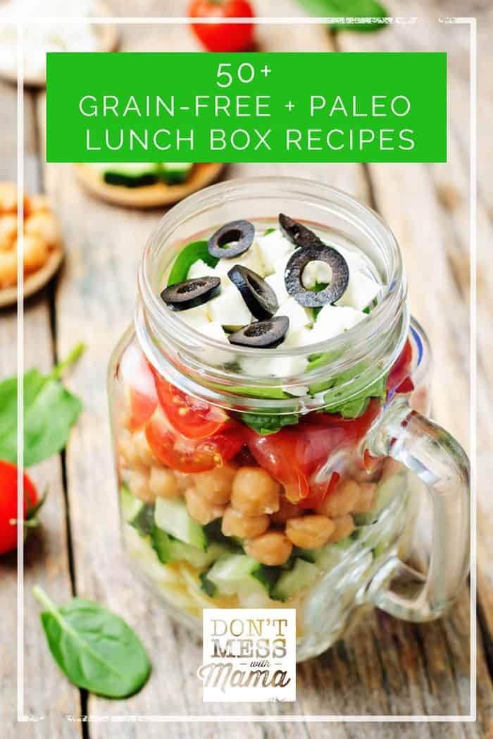 Tired of the same grain-free or Paleo lunches? Here are 50+ grain free and Paleo lunch box recipes both kids and adults will love.