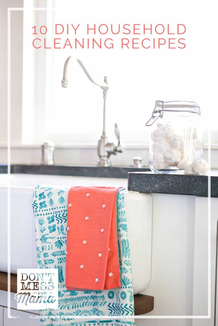 Make the switch to all-natural cleaners with this round-up of my favorite DIY cleaning recipes. Learn how to make your own cleaners with these 10 DIY recipes - including foaming hand soap, bleach alternative, air freshener and more!