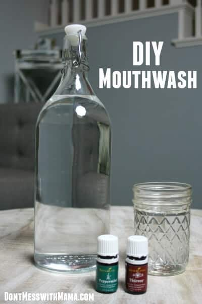 DIY Mouthwash. Did you know most store-bought mouthwashes are loaded with toxic chemicals? Find out why and learn how to make your own healthy DIY mouthwash recipe. | Healthy Mouthwash | Natural Mouthwash | Natural Beauty Products | Natural Hygiene | #mouthwash #teeth #natural #cleaning #dontmesswithmama