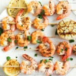 Lemon Garlic Shrimp Skewers on a white dish