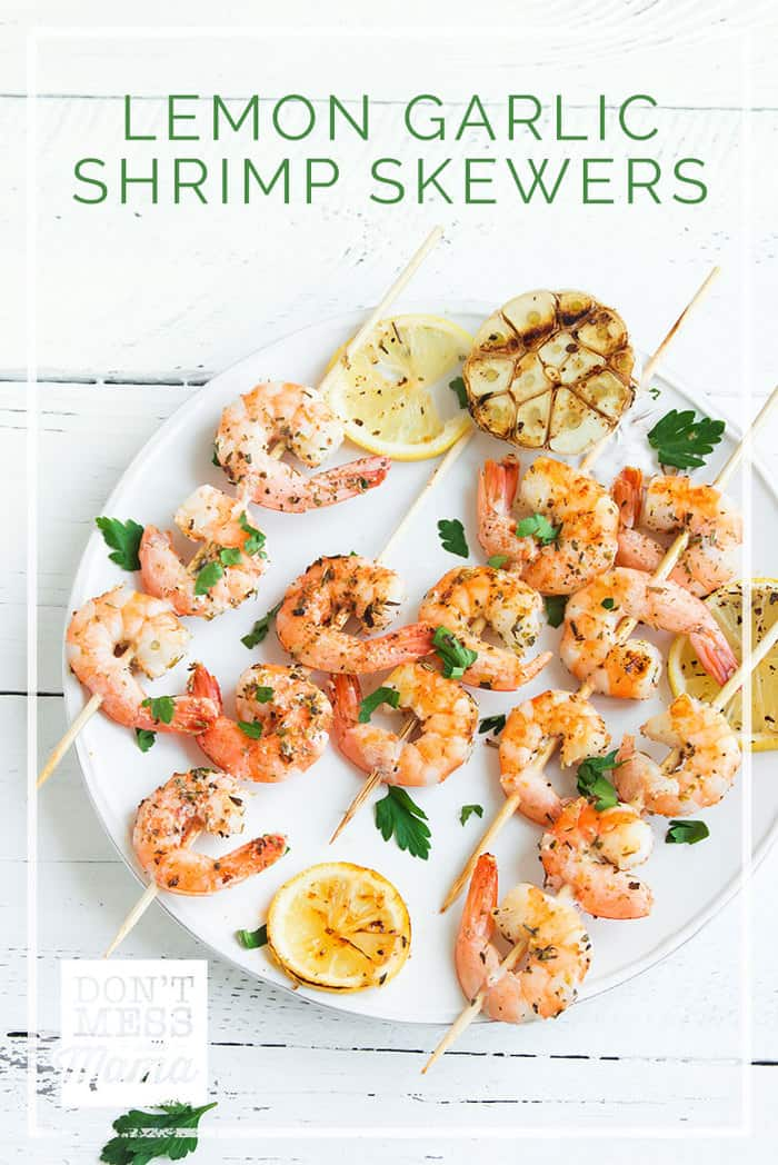 These Gluten-Free Garlic Lemon Shrimp Skewers taste just like the shrimp served at teppanyaki Japanese restaurants where chefs cook at the table. It's a delicious, healthy meal the whole family will love. dontmesswithmama.com #shrimp #healthyrecipes #fish #dontmesswithmama