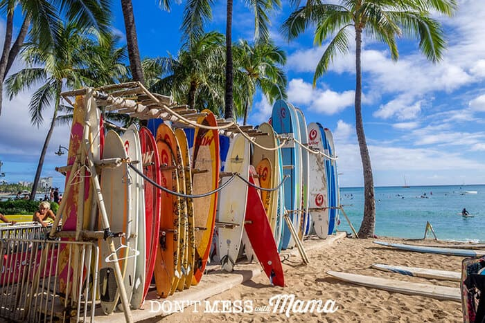 Surfboards on the beach in Hawaii