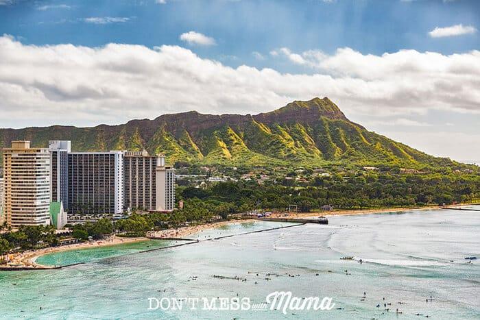 Photo of diamond head and Waikiki beach on Oahu, Hawaii
