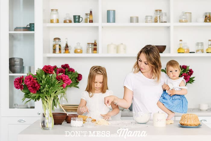 Mom and kids in the kitchen cooking