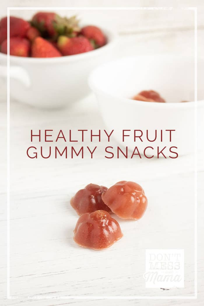 Forget the store-bought gummy bears. Make your own Homemade Healthy Fruit Snacks with this easy recipe that your kids will love.  #gummy #gummies #healthysnacks #snacksforkids @dontmesswithmom