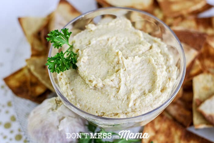 Closeup of garlic roasted hummus