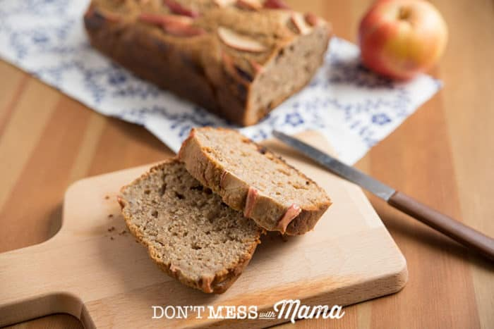 A closeup of sliced Apple Bread on a chopping board