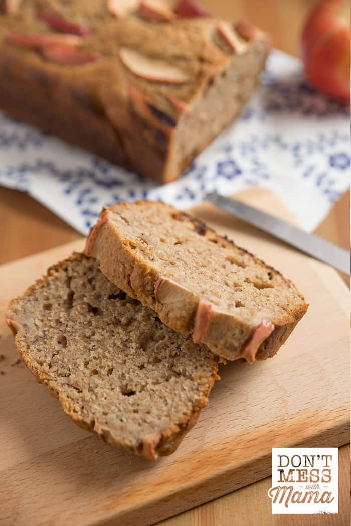Closeup of gluten-free apple bread on a cutting board