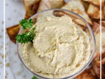 Roasted Garlic Hummus Recipe - Make homemade hummus without the canned garbanzo beans. It's so easy and so much better for your digestive system - DontMesswithMama.com