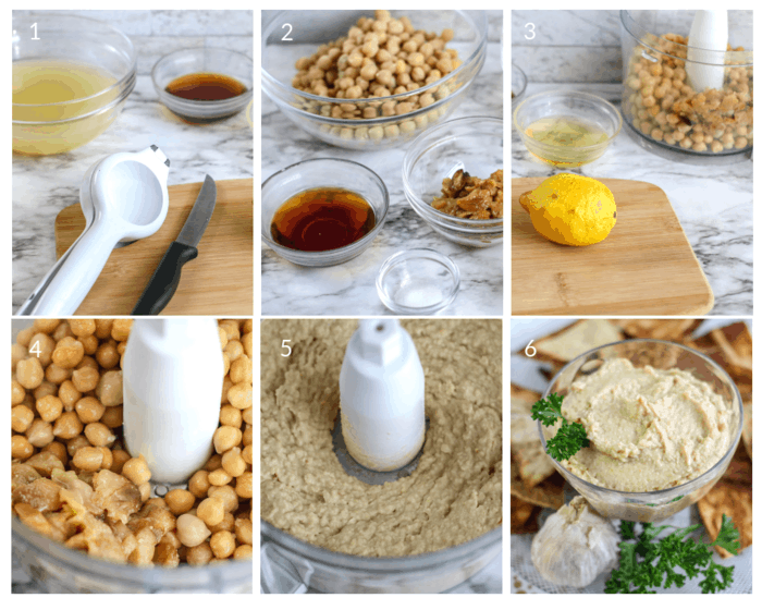 Step by step tutorial on how to make garlic roasted hummus