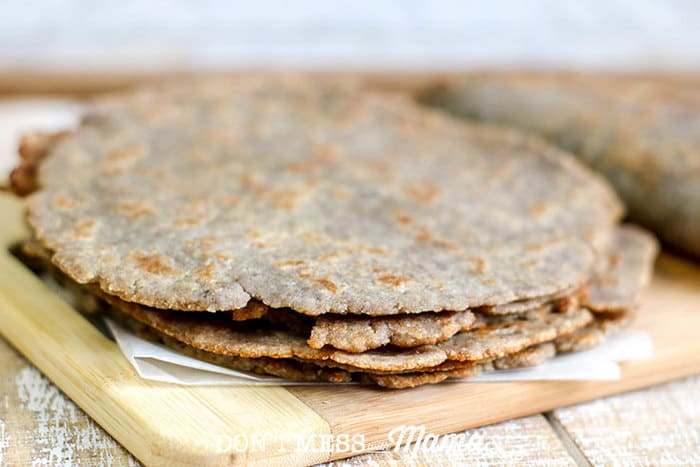 Closeup of low carb tortillas on a cutting board