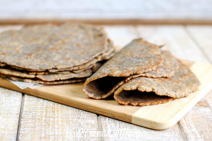 Low-Carb Tortillas on wooden board