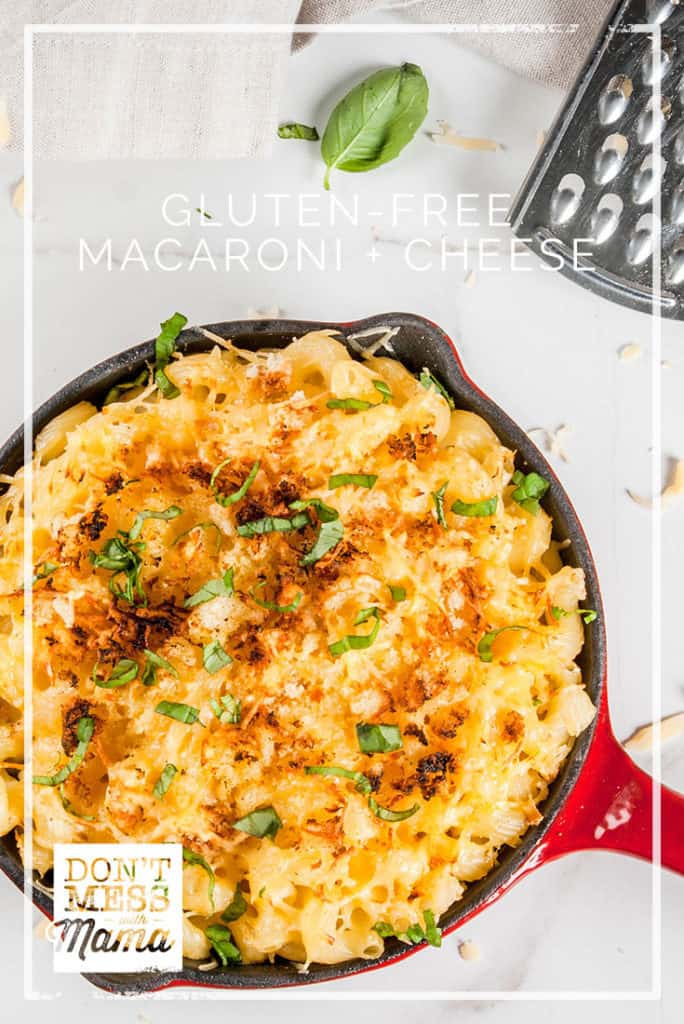 Gluten-Free Macaroni and Cheese in a red skillet topped with basil
