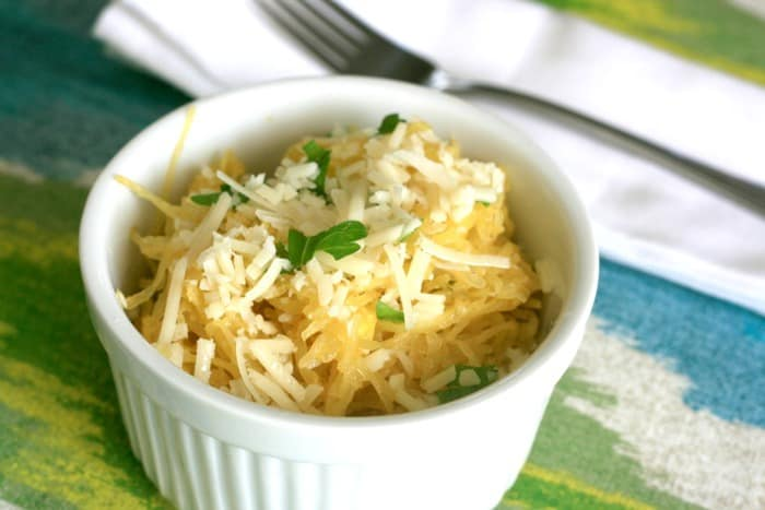 A close up of Spaghetti Squash with Browned Butter Sauce in a white bowl