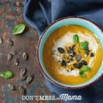 Gluten-Free Creamy Sweet Potato Soup with Bacon - DontMesswithMama.com