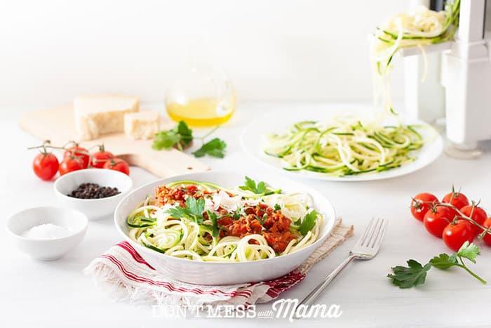 Closeup of zucchini noodles pasta dish - a gluten-free swap option