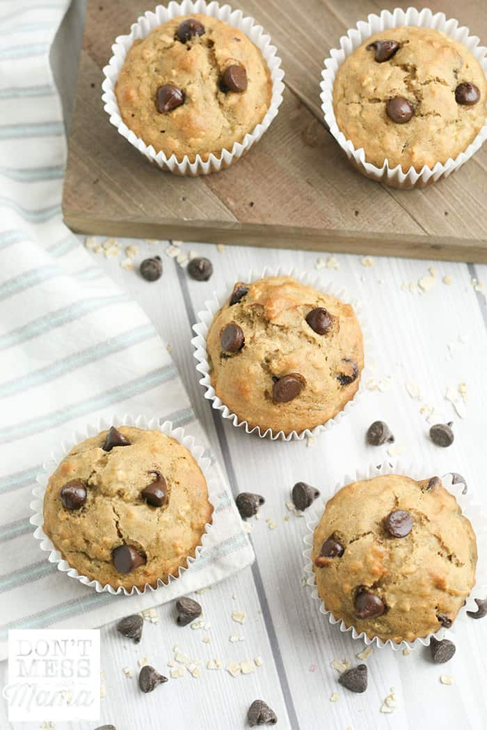 overview of banana chocolate chip muffins on a table
