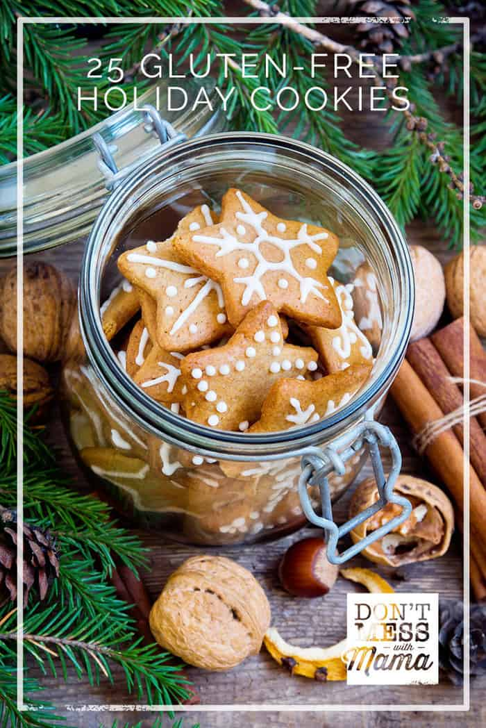 Got a Christmas party or holiday get-together? Make one of these 25+ Gluten-Free Holiday Cookie recipes with grain-free, Paleo and vegan options.