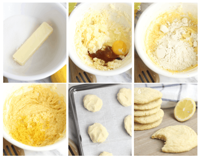 Gluten-Free Lemon Cookies step-by-step tutorial in 6 photo collage on how to make