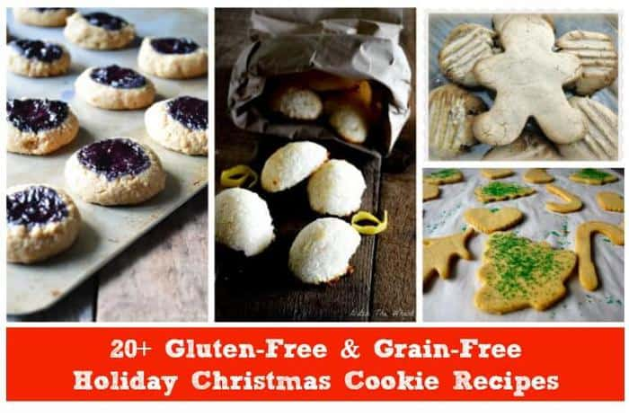 A collage image of Gluten-Free & Grain-Free Holiday Christmas Cookies