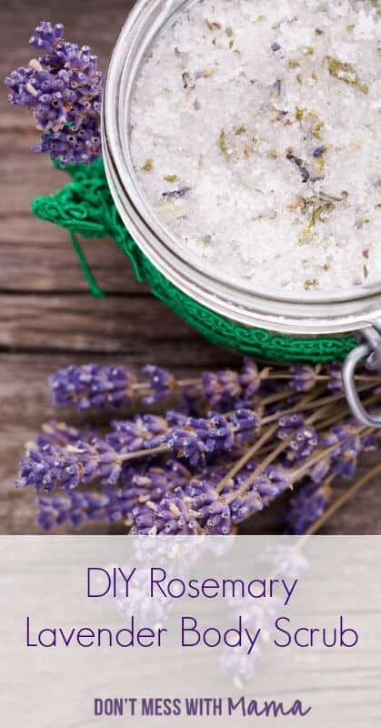 DIY Rosemary Lavender Body Scrub - Make your own luxurious home spa with this DIY Rosemary Lavender Body Scrub. It can be used as a body scrub or to soften hands. | Homemade Scrub | Homemade Beauty | DIY Beauty | #beauty #scrub #diy #dontmesswithmama