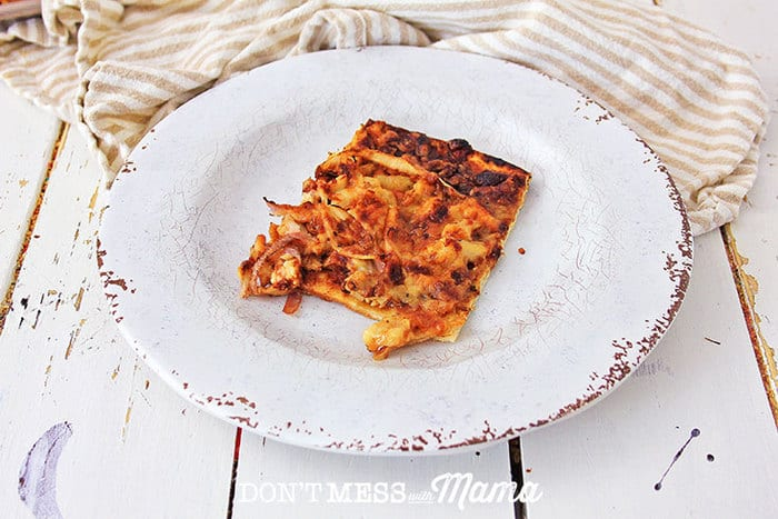 gluten-free bbq chicken pizza on a white plate