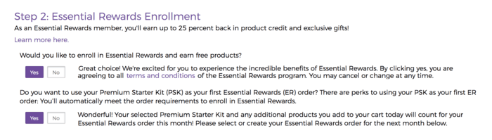 screenshot on how to sign up for Young Living