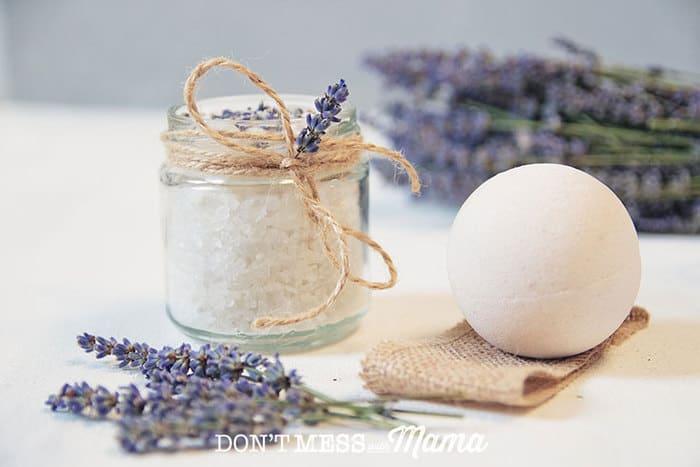 DIY Lavender Bath Salts in a glass jar