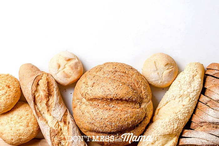 Closeup of different kinds of bread