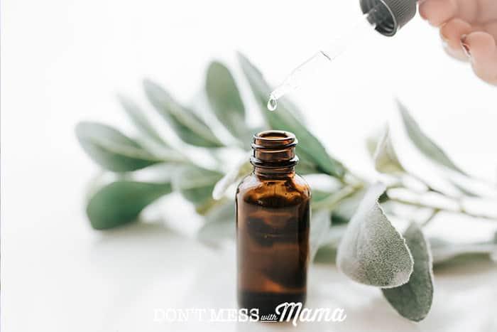 Closeup of essential oil bottle