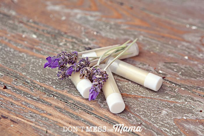 Closeup of DIY lip balms with sprigs of lavender