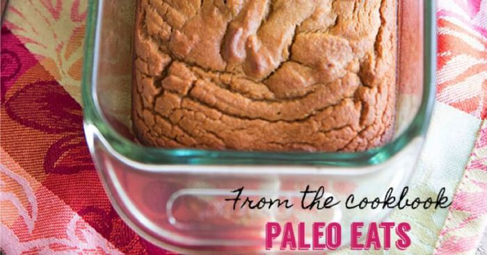A close up of Paleo Sweet Bread in a glass dish
