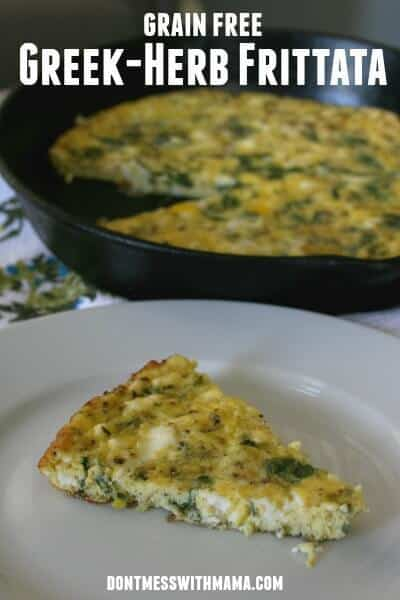Greek Herb Frittata (Grain-Free) #glutenfree #recipe #realfood - DontMesswithMama.com