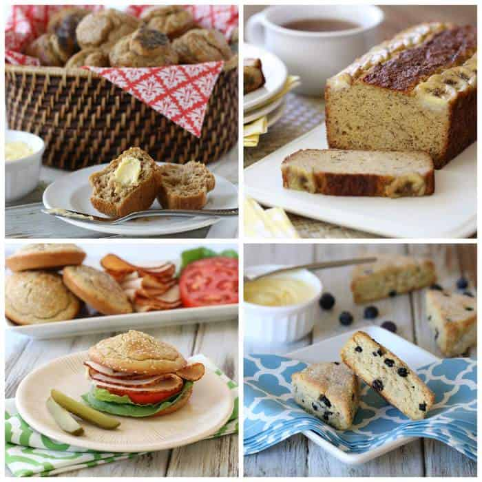 A collage photo of recipes from Everyday Grain-Free Baking cookbook