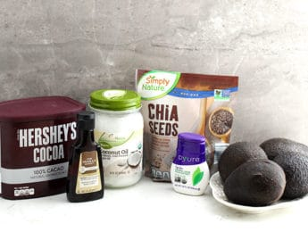 ingredients for chocolate avocado pudding