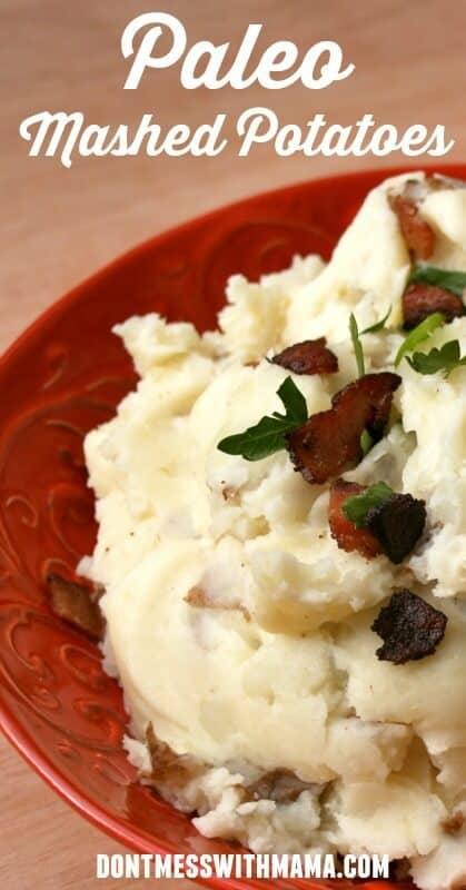 Paleo Mashed Potatoes. Creamy, easy and delicious these paleo mashed potatoes are a brilliant side dish to many mains. dontmesswithmama.com #paleo #mashedpotatoes #sides #dontmesswithmama