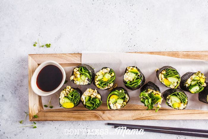 A photo of a table set with a soy sauce substitute